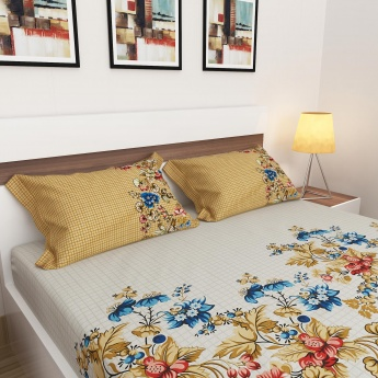 Edwardian Printed Cotton King-Size Double Bedsheet Set