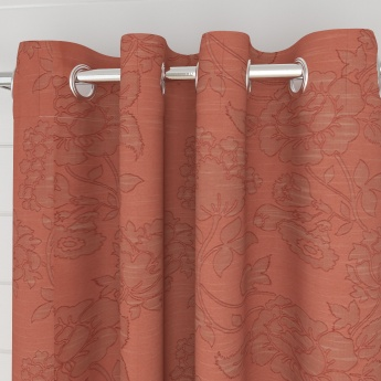 Edwardian Floral Semi-Blackout Door Curtain-Set Of 2 Pcs.