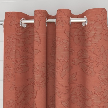 Edwardian Floral Semi-Blackout Window Curtain-Set Of 2 Pcs.