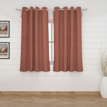 Edwardian Solid Semi-Blackout Window Curtain Pair - 135 x 160 cm