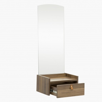 Claire Contemporary Walnut Compressed Wood Console With Mirror