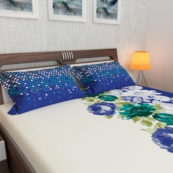 Emerald Floral Print Cotton Double Bedsheet with Pillow Covers- 3 Pcs.