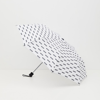 Canopy Mustache Print Three-Fold Umbrella