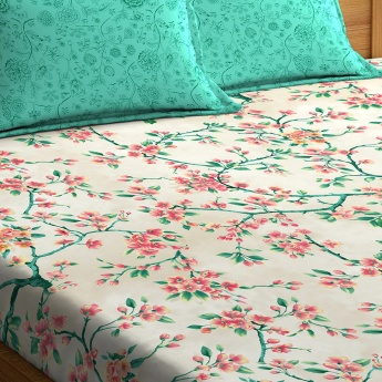 PORTICO Printed King-Size Fitted Bedsheet with Pillow Covers- 1+2
