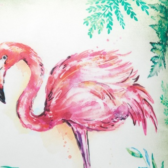 Alora Crest Flamingo Digital Print Filled Cushion- 40x40 cms.