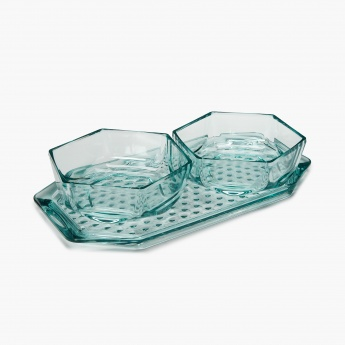 Tropix Vicenza Serving Bowl with Tray - Set of 3 Pcs.
