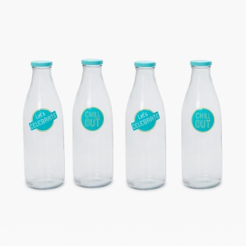 Alberta Glass Milk Bottle- Set of 4 Pcs.