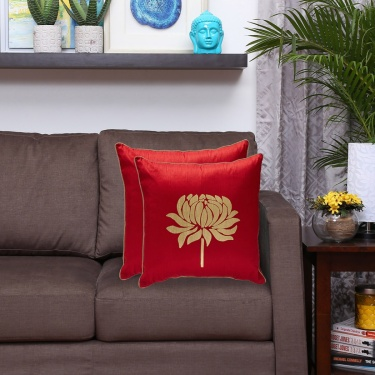 Ananda Lotus Print Filled Cushions - Set of 2 - 40 x 40 cm