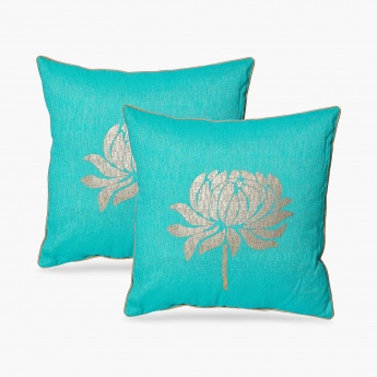 Ananda Lotus Print Filled Cushions - Set Of 2 Pcs.