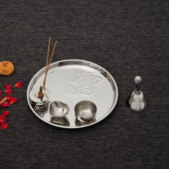Malhar Pooja Thali with Bell, Katori, Incense Stand and Diya- Set of 5 Pcs.