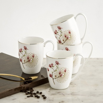 Marina Bone China Printed Mugs-Set Of 4 Pcs.