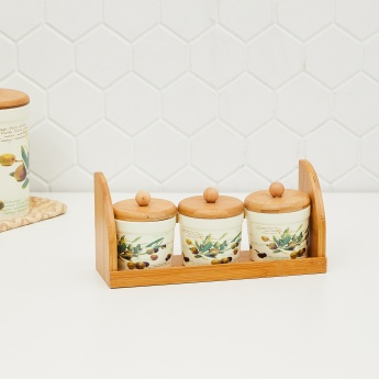 Malvina Printed 3-Piece Condiment Set with Bamboo Tray