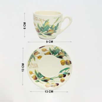 Malvina Printed Tea Set - 6 Cups & 6 Saucers with Stand