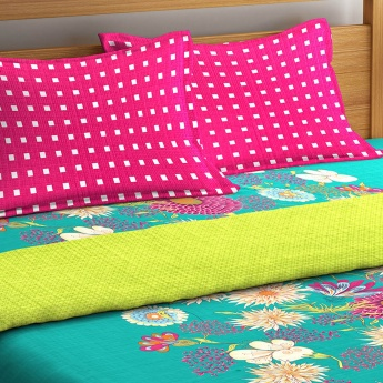 Marlin Wupper Floral Print Cotton Double Bedsheet Set- 4 Pcs.