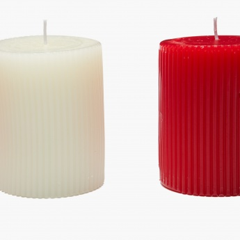 Moksha Textured Floral Pillar Candle