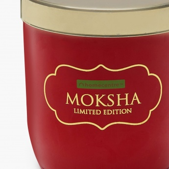 Moksha Floral Glass Candle Jar With Lid