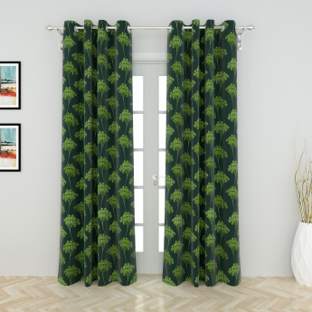 Griffin Greens Floral Printed Door Curtain-Set Of 2 Pcs.