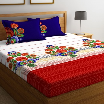 PORTICO Floral Printed King Size Double Bedsheet-Set Of 3 Pcs.