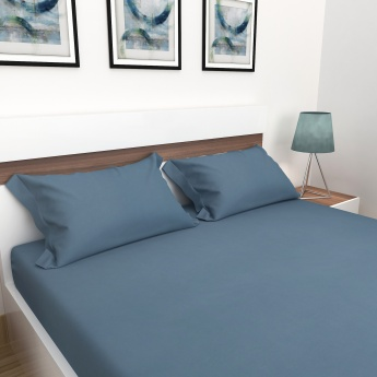 Sapphire Solid Cotton Double Bedsheet with Pillow Covers - 3 pcs.