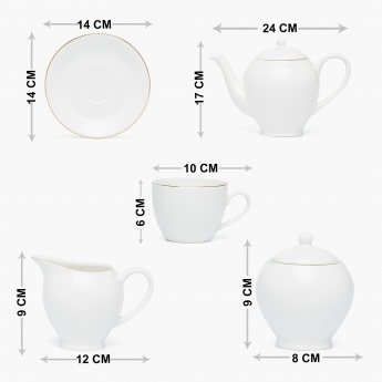 Jodhpur-Sterlyn Bone Chine Solid Tea Coffee Set-Set Of 15 Pcs.