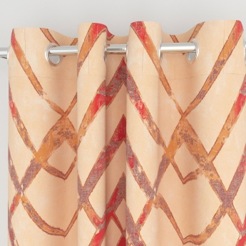 Matrix Panama Zig-Zag Print Cotton Door Curtains- 2 Pcs.