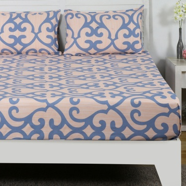 Maspar Artms Swirl Print Cotton Double Bedsheet with Pillow Covers- 3 Pcs.