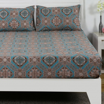 Maspar Brnce Printed Cotton Double Bedsheet with Pillow Covers- 3 Pcs.