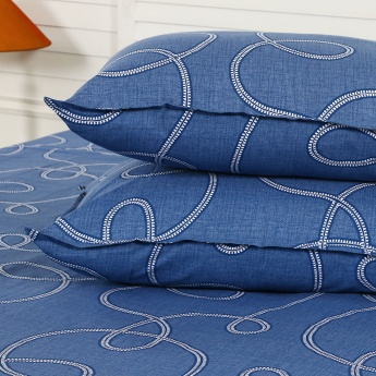 Maspar Clarn Spiral Print Cotton Double Bedsheet with Pillow Covers- 3 Pcs.