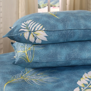Maspar Cyril Leaf Print Cotton Double Bedsheet with Pillow Covers- 3 Pcs.
