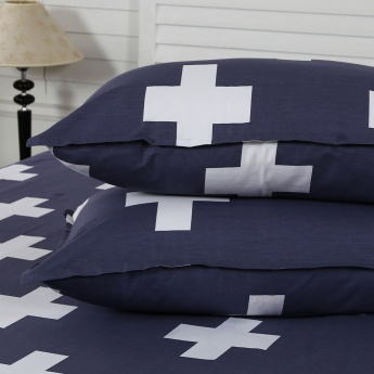 Maspar Elmty Cross Print Cotton Double Bedsheet with Pillow Covers- 3 Pcs.
