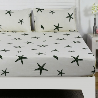 Maspar Fredc Starfish Print Cotton Double Bedsheet with Pillow Covers- 3 Pcs.