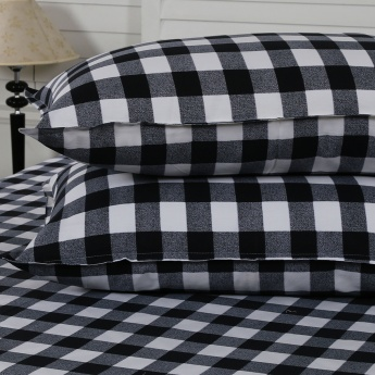 Maspar Gerld Checked Cotton Double Bedsheet with Pillow Covers- 3 Pcs.