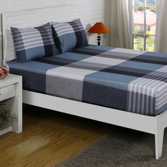 Maspar Haris Checked Cotton Double Bedsheet with Pillow Covers- 3 Pcs.