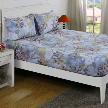 Maspar Infrc Floral Print Cotton Double Bedsheet with Pillow Covers- 3 Pcs.