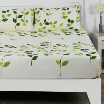 Maspar Leflt Leaf Print Cotton Double Bedsheet with Pillow Covers- 3 Pcs.