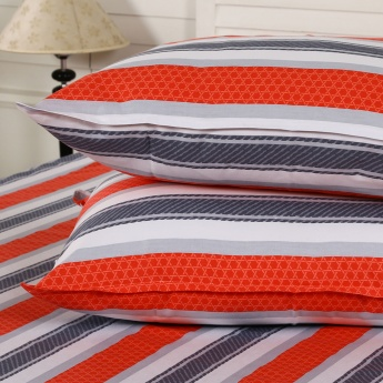 Maspar Lucnd Striped Cotton Double Bedsheet with Pillow Covers- 3 Pcs.
