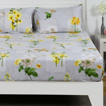 Maspar Mgrte Floral Print Cotton Double Bedsheet with Pillow Covers- 3 Pcs.