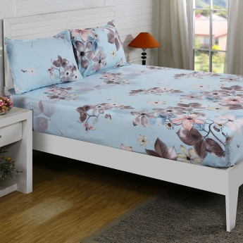 Maspar Mirle Floral Print Cotton Double Bedsheet with Pillow Covers- 3 Pcs.