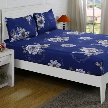 Maspar Natla Floral Print Cotton Double Bedsheet with Pillow Covers- 3 Pcs.