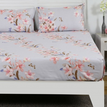 Maspar Romly Floral Print Cotton Double Bedsheet with Pillow Covers- 3 Pcs.