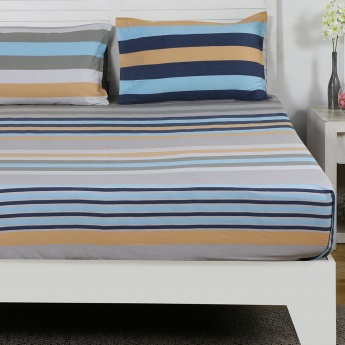 Maspar Thmas Striped Cotton Double Bedsheet with Pillow Covers- 3 Pcs.