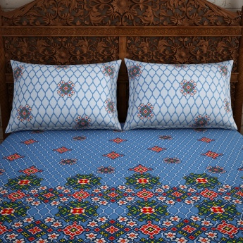 SPACES Essentials Printed Cotton Double Bedsheet with Pillow Covers-Set Of 3 Pcs.