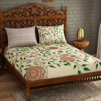 SPACES Occasions Printed Cotton Double Bedsheet with Pillow Covers - Set of 3 Pcs.