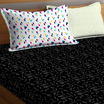 PORTICO Hashtag Printed Double Bed Sheet with Pillow Covers - Set Of 3 Pcs.