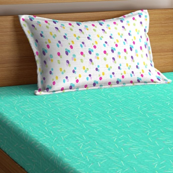PORTICO Hashtag Printed Single Bed Sheet with Pillow Cover - Set Of 2 Pcs.