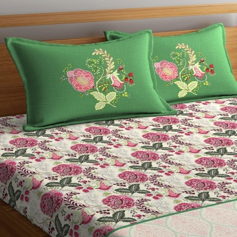 Cadence Printed King-Size Linen Double Bedsheets - 2 Pcs - 46 x 69 Cms