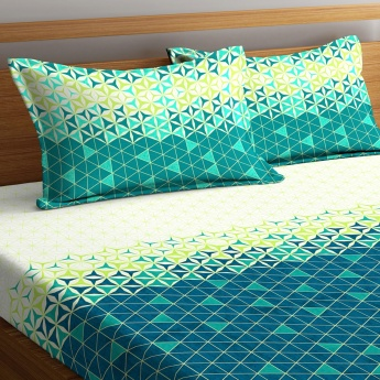 Cadence Printed King-Size Linen Double Bedsheet with 2 Pillow Covers