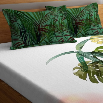 PORTICO Rain Forest Printed Cotton King Bed Linen-Set Of 3 Pcs.