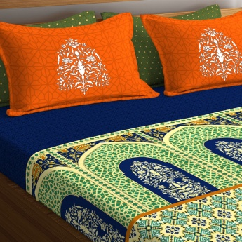 PORTICO Shubhmangalam Printed Cotton King Bed Linen-Set Of 3 Pcs.