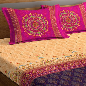 PORTICO Neeta Lulla Printed Cotton King Bed Linen-Set Of 3 Pcs.